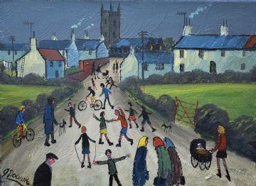 James Downie Original Oil Painting Busy In The Village Today